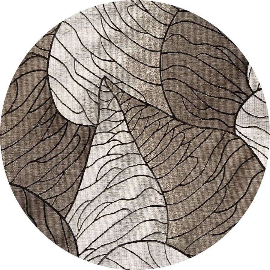 KAS Rugs Serenity Gray Round Indoor Outdoor Woven Area Rug (Common: 7 x 7; Actual: 81-in W x 81-in L)