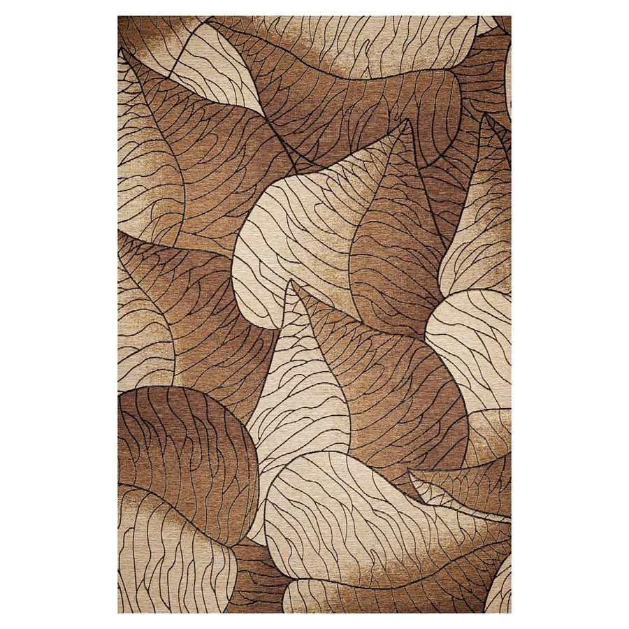 KAS Rugs Serenity Brown Rectangular Indoor Outdoor Woven Area Rug (Common: 7 x 10; Actual: 81-in W x 114-in L)