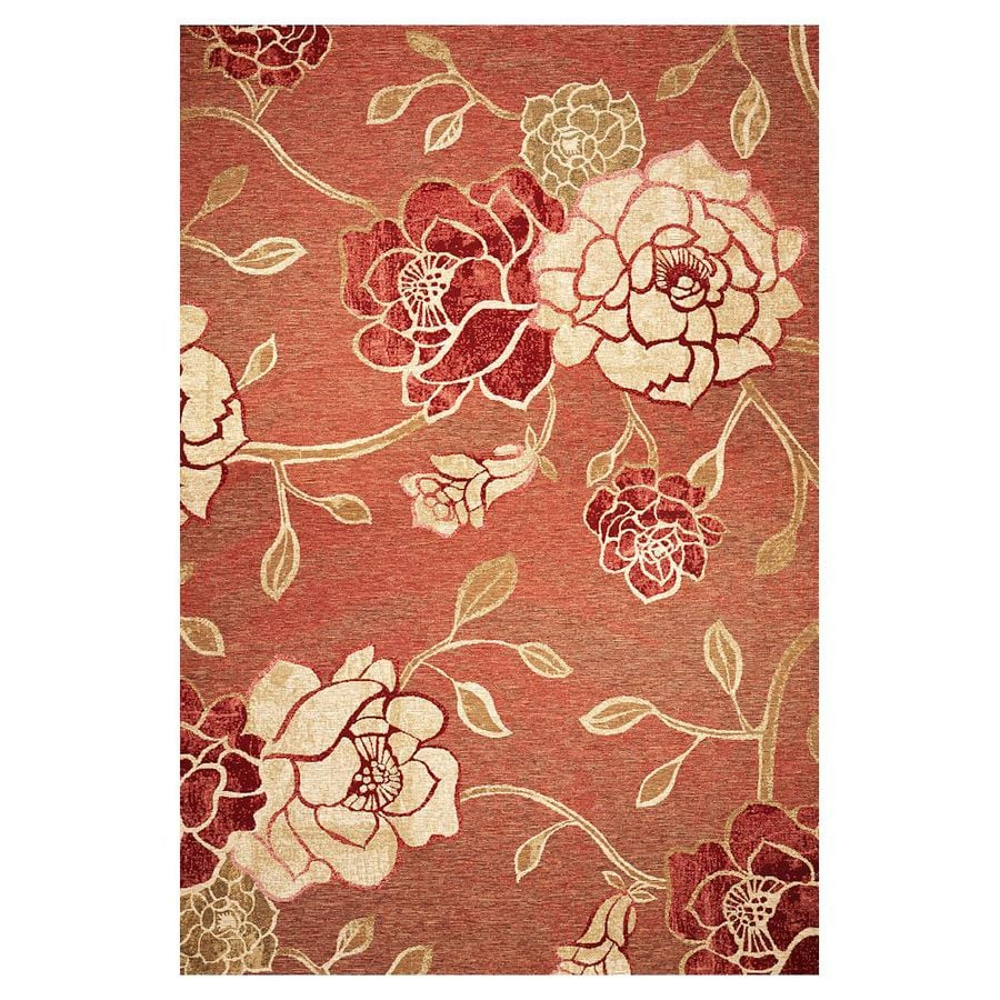 Shop kas rugs serenity orange rectangular indoor outdoor for Woven vinyl outdoor rugs
