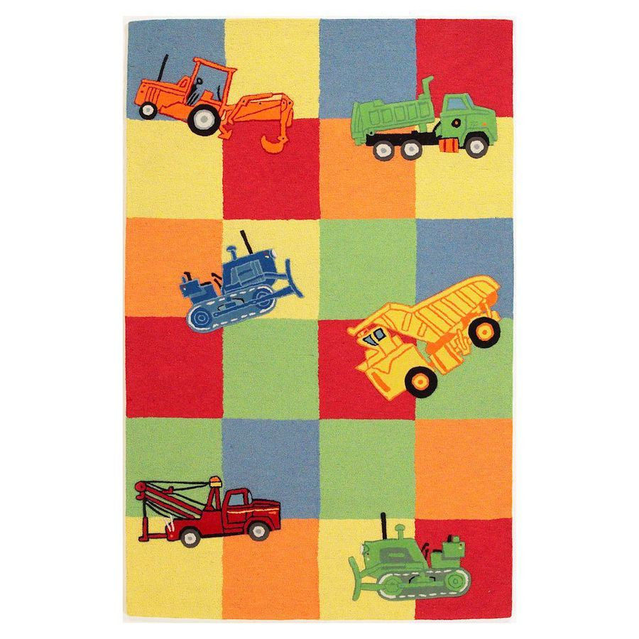 KAS Rugs Playful Patterns Red Rectangular Indoor Handcrafted Kids Throw Rug (Common: 2 x 3; Actual: 2-ft W x 3-ft L)