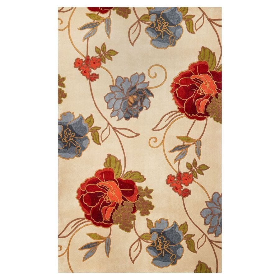 KAS Rugs Elegant Florals Rectangular Indoor Tufted Throw Rug (Common: 3 x 5; Actual: 3.25-ft W x 5.25-ft L)
