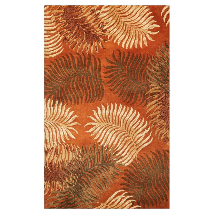 KAS Rugs Floral Chic Brown Rectangular Indoor Tufted Tropical Area Rug (Common: 5 x 8; Actual: 60-ft W x 96-ft L)