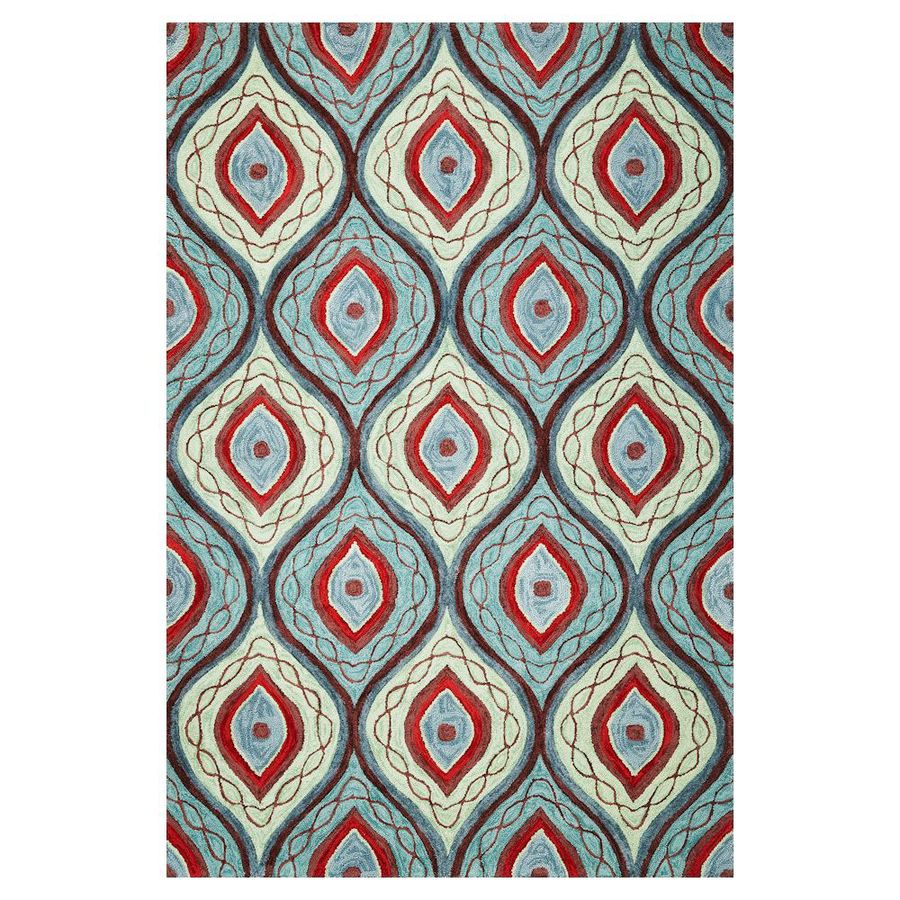 KAS Rugs Trend Setter Blue Rectangular Indoor Tufted Area Rug (Common: 8 x 10; Actual: 7.75-ft W x 9.75-ft L)