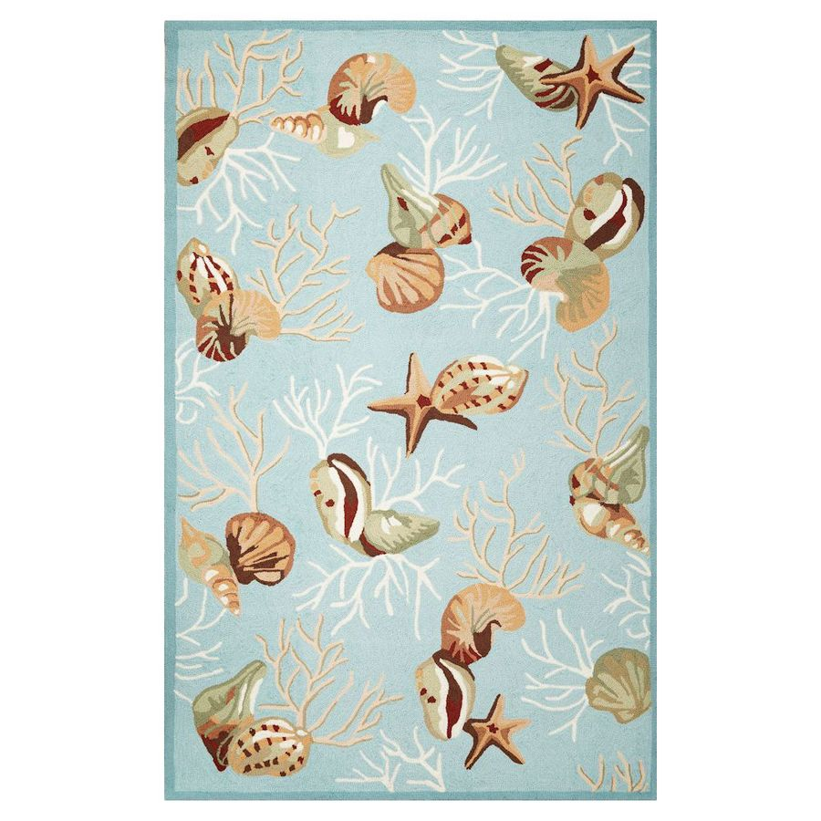 KAS Rugs Flirty Trends Blue Rectangular Indoor Hand-Hooked Coastal Throw Rug (Common: 3 x 5; Actual: 39-in W x 63-in L)