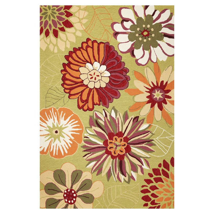 KAS Rugs Flirty Trends Green Rectangular Indoor Hand-Hooked Coastal Area Rug (Common: 5 x 8; Actual: 60-in W x 90-in L)