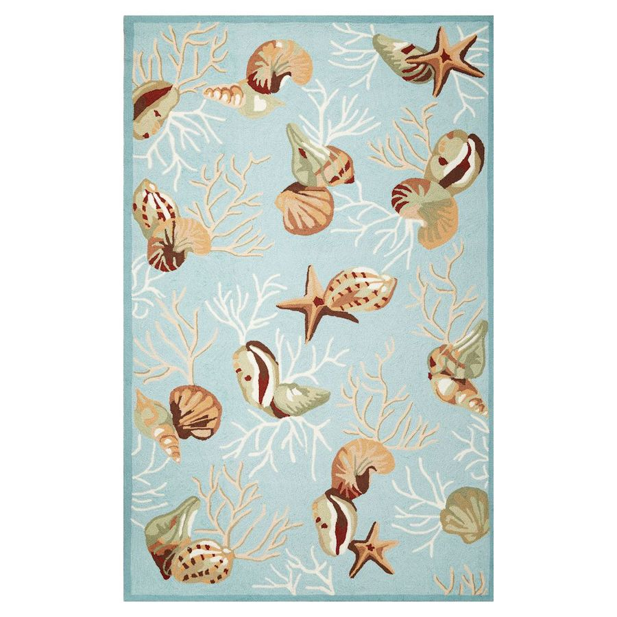 KAS Rugs Flirty Trends Blue Rectangular Indoor Hand-hooked Coastal Area Rug (Common: 8 x 10; Actual: 7.50-ft W x 9.50-ft L)