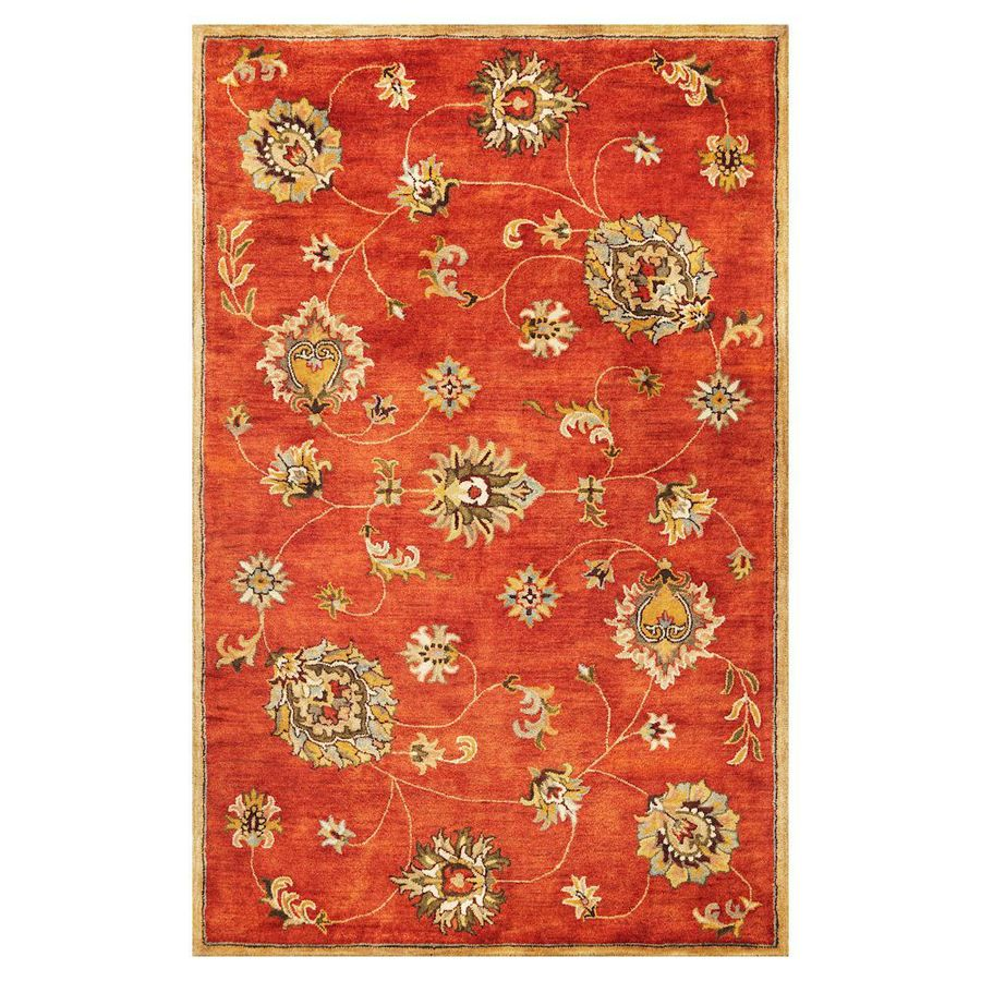 KAS Rugs Tapestry Today Orange Rectangular Indoor Tufted Oriental Area Rug (Common: 5 x 8; Actual: 60-in W x 96-in L)
