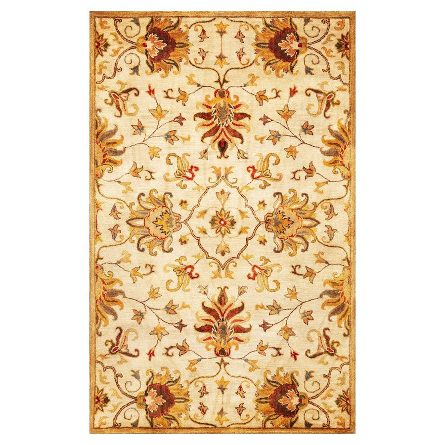 KAS Rugs Tapestry Today Ivory Rectangular Indoor Handcrafted Oriental Area Rug (Common: 5 x 8; Actual: 5-ft W x 8-ft L)