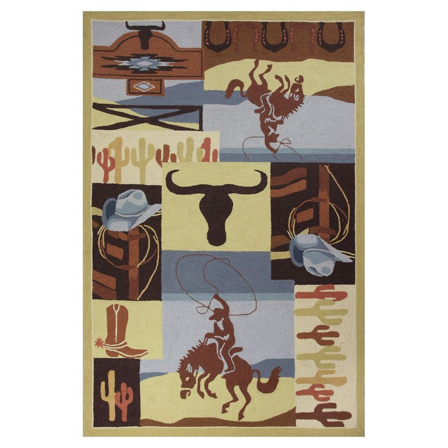 KAS Rugs Classy Casual Rectangular Indoor Hand-Hooked Animals Throw Rug