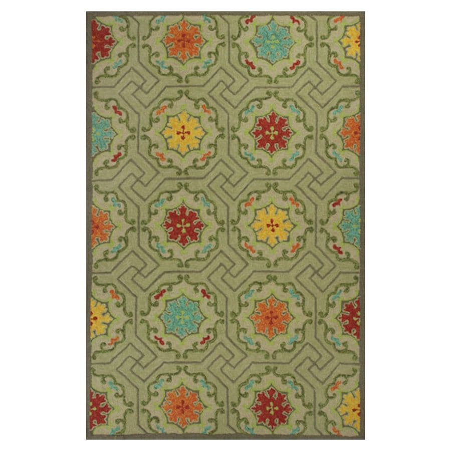 KAS Rugs Casual Living Rectangular Indoor and Outdoor Hand-Hooked Area Rug (Common: 5 x 8; Actual: 60-in W x 90-in L)