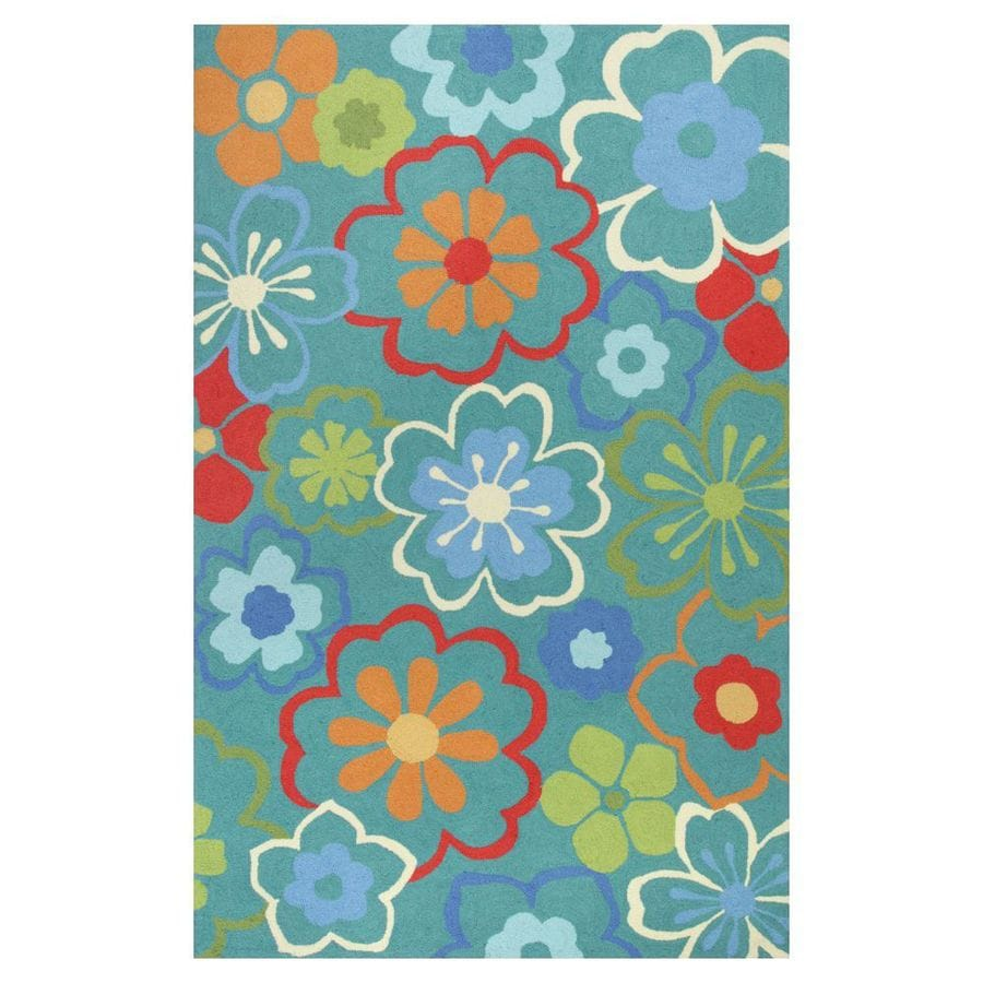 KAS Rugs Flirty Trends Blue Rectangular Indoor Hand-Hooked Coastal Area Rug (Common: 5 x 8; Actual: 60-in W x 90-in L x 0-ft Dia)