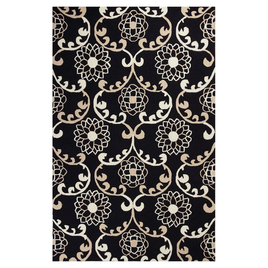 KAS Rugs Flirty Trends Black Rectangular Indoor Hand-Hooked Coastal Area Rug (Common: 5 x 8; Actual: 60-in W x 90-in L x 0-ft Dia)