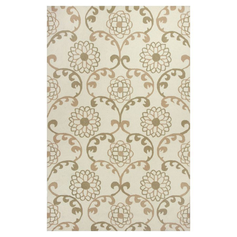 KAS Rugs Flirty Trends Ivory Rectangular Indoor Hand-Hooked Coastal Area Rug (Common: 5 x 8; Actual: 60-in W x 90-in L x 0-ft Dia)