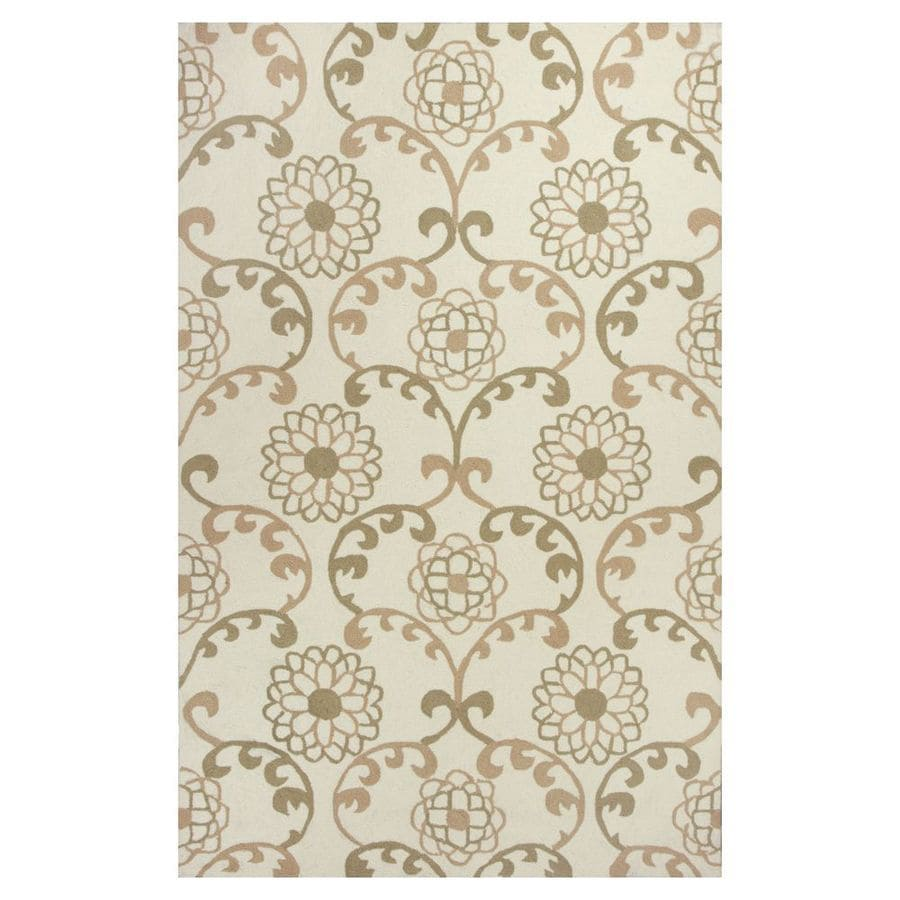 KAS Rugs Flirty Trends Ivory Rectangular Indoor Hand-Hooked Coastal Area Rug (Common: 8 x 10; Actual: 90-in W x 114-in L x 0-ft Dia)