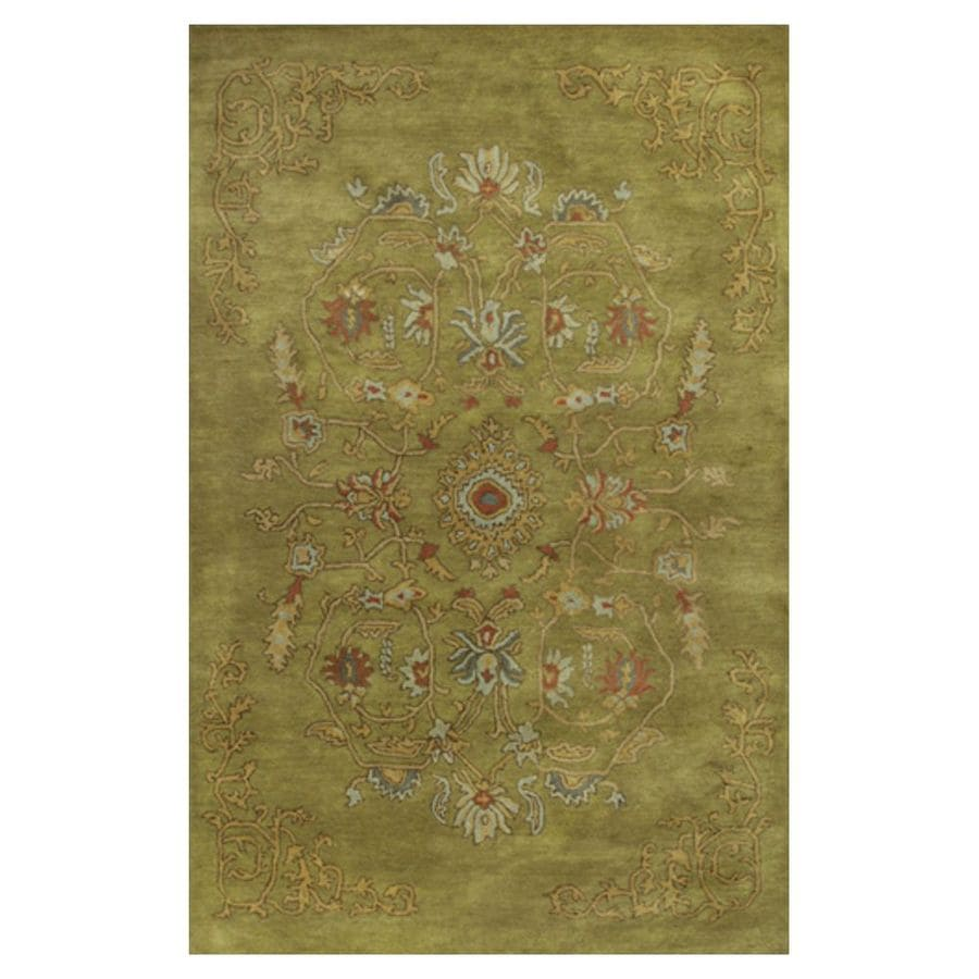 KAS Rugs Elite Traditions Green Rectangular Indoor Tufted Oriental Area Rug (Common: 8 x 11; Actual: 96-in W x 126-in L x 0-ft Dia)