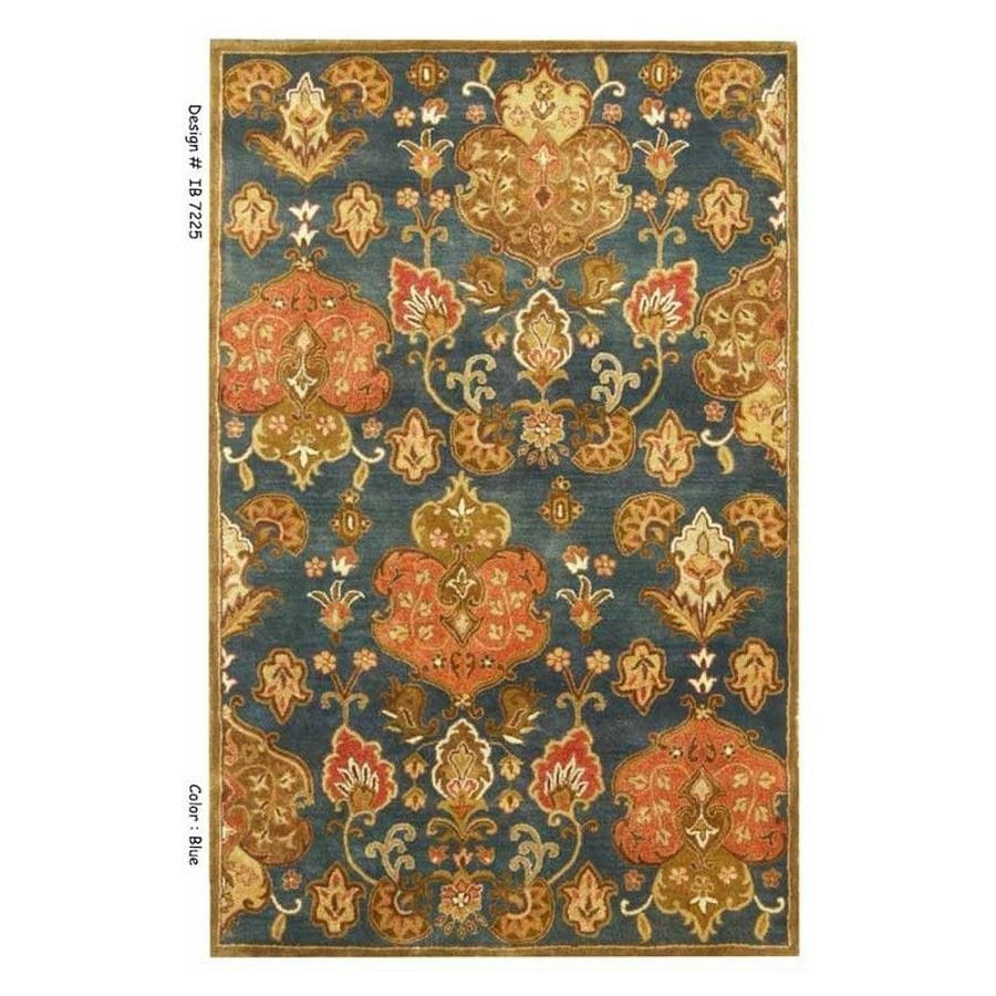 KAS Rugs Tapestry Today Blue Rectangular Indoor Handcrafted Oriental Area Rug (Common: 5 x 8; Actual: 5-ft W x 8-ft L)