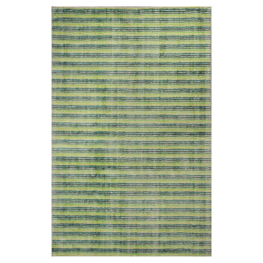 KAS Rugs Shimmering Treasures Green Rectangular Indoor Handcrafted Throw Rug (Common: 3 x 5; Actual: 3.25-ft W x 5.25-ft L)
