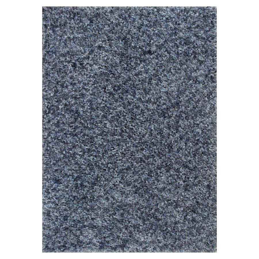 KAS Rugs Perfect Shag Blue Rectangular Indoor Shag Throw Rug (Common: 2 x 4; Actual: 27-ft W x 45-ft L)