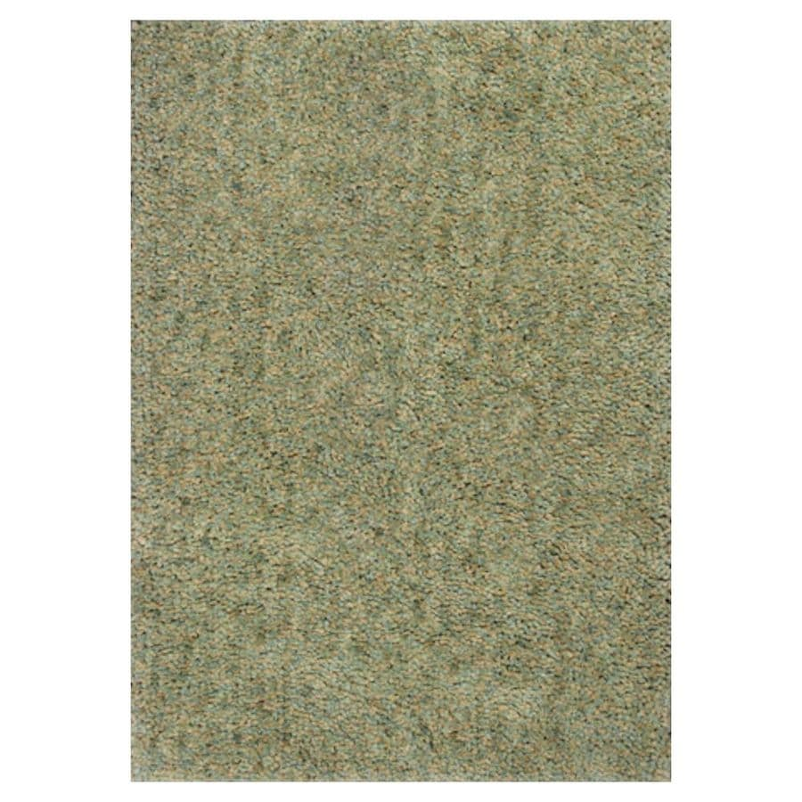 KAS Rugs Perfect Shag Green Rectangular Indoor Shag Area Rug (Common: 8 x 10; Actual: 90-in W x 114-in L x 0-ft Dia)