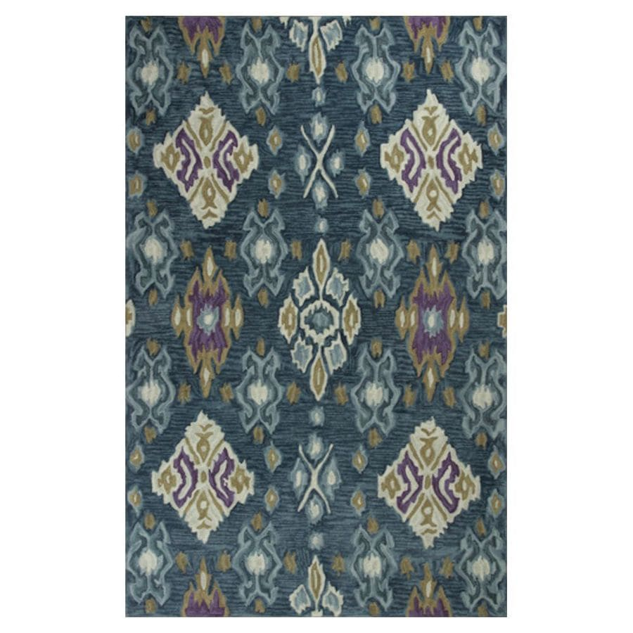 KAS Rugs Textured Fashion Blue Rectangular Indoor Tufted Throw Rug (Common: 2 x 4; Actual: 27-in W x 45-in L x 0-ft Dia)