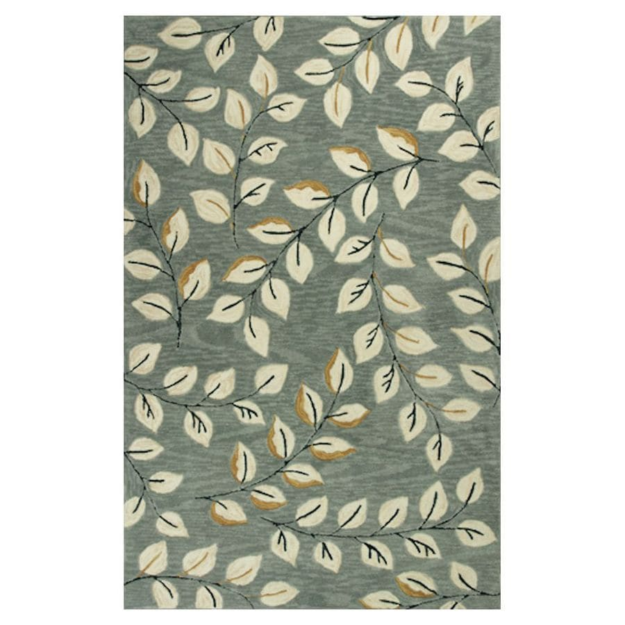 KAS Rugs Textured Fashion Gray Rectangular Indoor Handcrafted Throw Rug (Common: 3 x 5; Actual: 3.25-ft W x 5.25-ft L)
