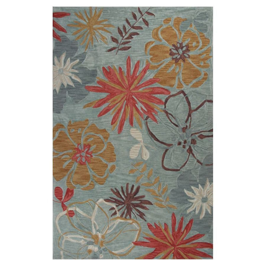 KAS Rugs Textured Fashion Blue Rectangular Indoor Tufted Throw Rug (Common: 3 x 5; Actual: 39-in W x 63-in L x 0-ft Dia)