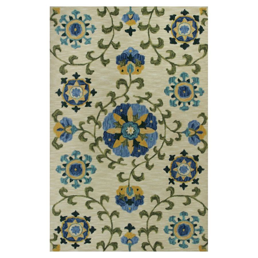 KAS Rugs Textured Fashion Ivory Rectangular Indoor Tufted Area Rug (Common: 8 x 10; Actual: 93-ft W x 117-ft L)