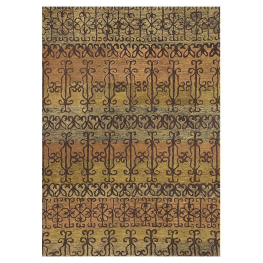 KAS Rugs Spiced Damask Brown Rectangular Indoor Tufted Moroccan Throw Rug (Common: 3 x 5; Actual: 39-in W x 63-in L x 0-ft Dia)