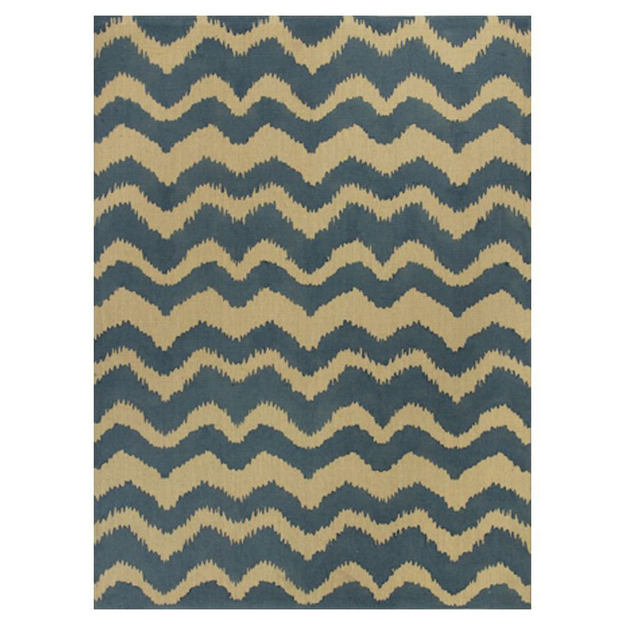 KAS Rugs Natures Best Blue Rectangular Indoor Woven Nature Area Rug (Common: 8 x 10; Actual: 96-in W x 120-in L x 0-ft Dia)
