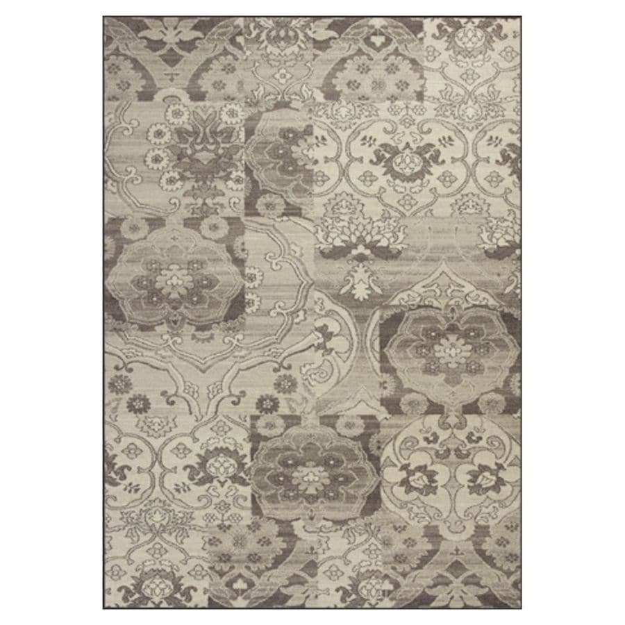 KAS Rugs Gorgeous Transitions Gray Rectangular Indoor Woven Distressed Area Rug (Common: 5 x 8; Actual: 63-in W x 91-in L x 0-ft Dia)