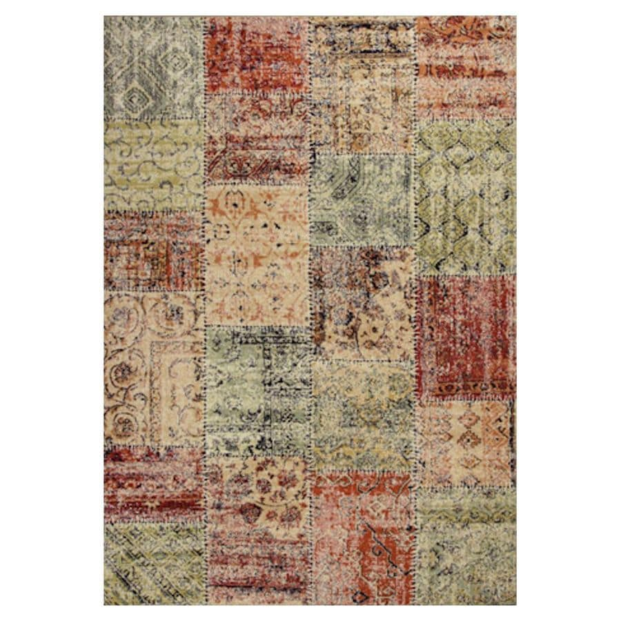 KAS Rugs Gorgeous Transitions Multicolor Rectangular Indoor Woven Distressed Area Rug (Common: 5 x 8; Actual: 63-in W x 91-in L x 0-ft Dia)