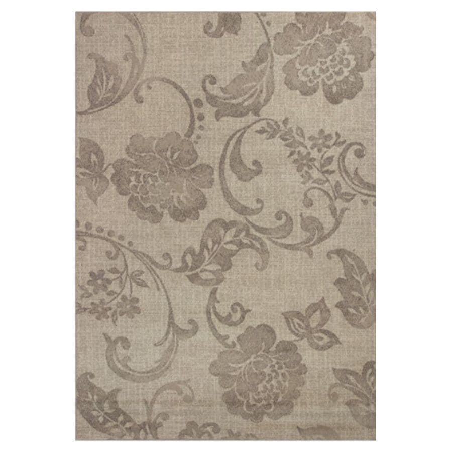 KAS Rugs Gorgeous Transitions Ivory Rectangular Indoor Woven Distressed Area Rug (Common: 5 x 8; Actual: 63-ft W x 91-ft L)