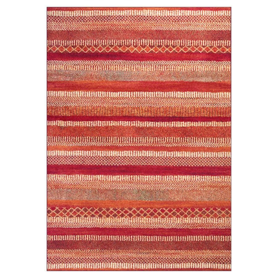 KAS Rugs Gorgeous Transitions Orange Rectangular Indoor Woven Distressed Area Rug (Common: 8 x 11; Actual: 94-in W x 134-in L x 0-ft Dia)