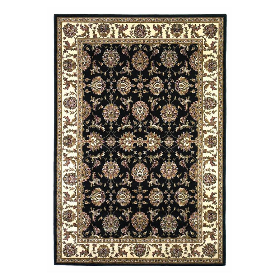 KAS Rugs Black Rectangular Indoor Woven Oriental Area Rug (Common: 10 x 13; Actual: 118-ft W x 146-ft L)