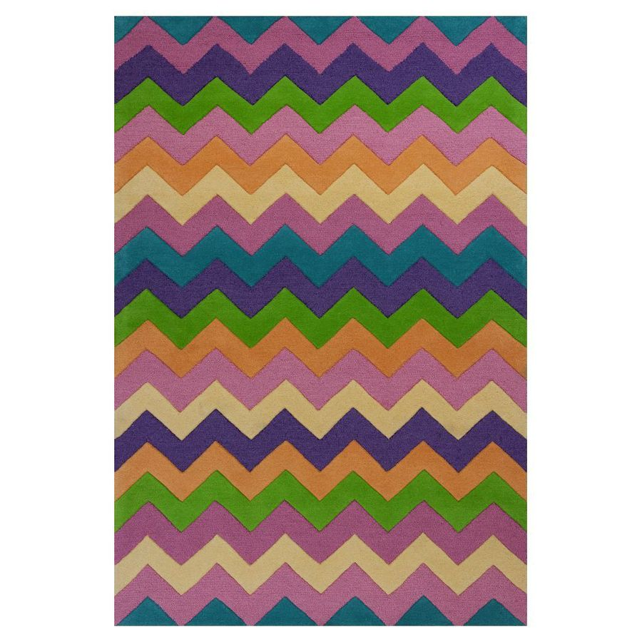 KAS Rugs Playful Patterns Multicolor Rectangular Indoor Tufted Area Rug (Common: 8 x 10; Actual: 90-in W x 114-in L)