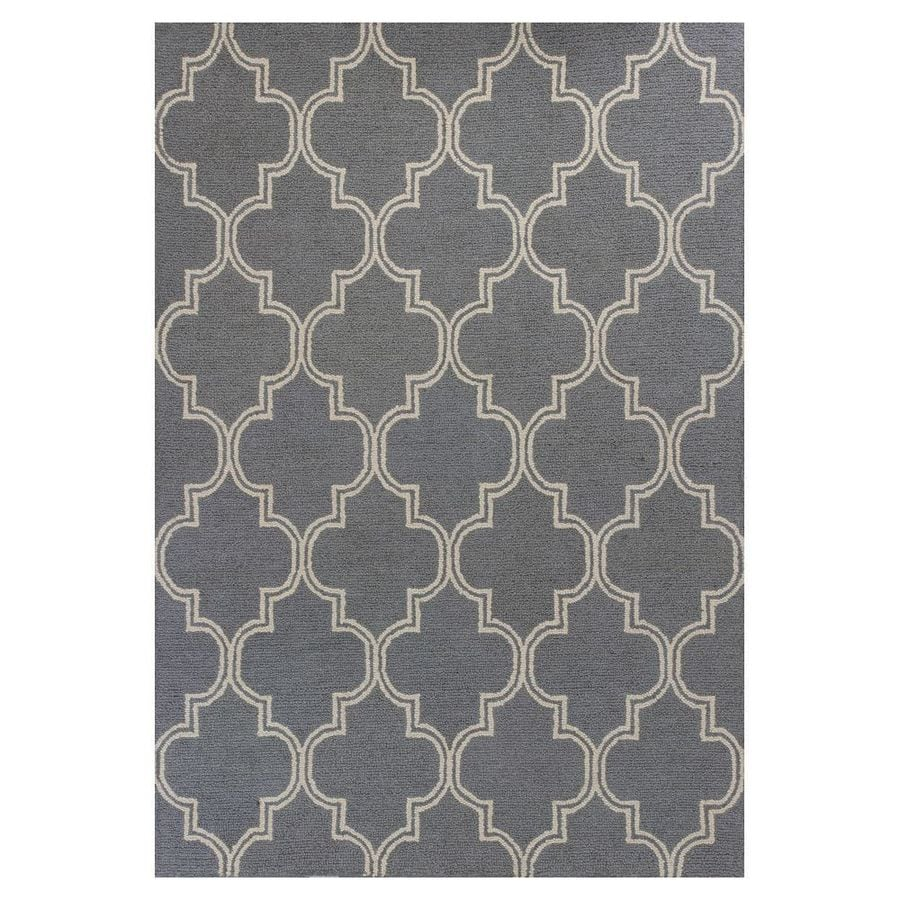 KAS Rugs Everday Gray Rectangular Indoor Hand-Hooked Throw Rug (Common: 2 x 4; Actual: 27-in W x 45-in L x 0-ft Dia)