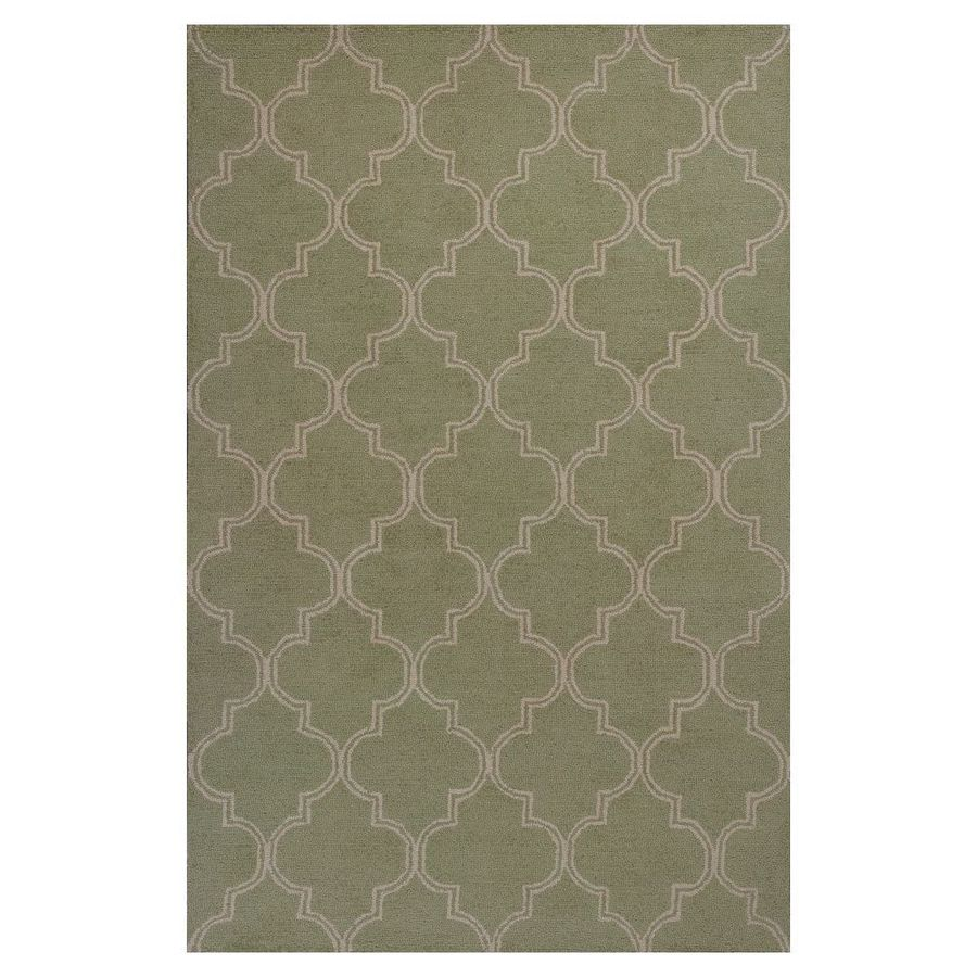 KAS Rugs Everday Green Rectangular Indoor Hand-Hooked Throw Rug (Common: 3 x 5; Actual: 39-in W x 63-in L x 0-ft Dia)