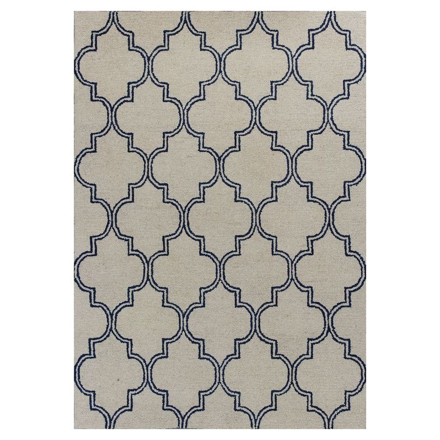 KAS Rugs Everday Ivory Rectangular Indoor Hand-Hooked Throw Rug (Common: 3 x 5; Actual: 39-ft W x 63-ft L)