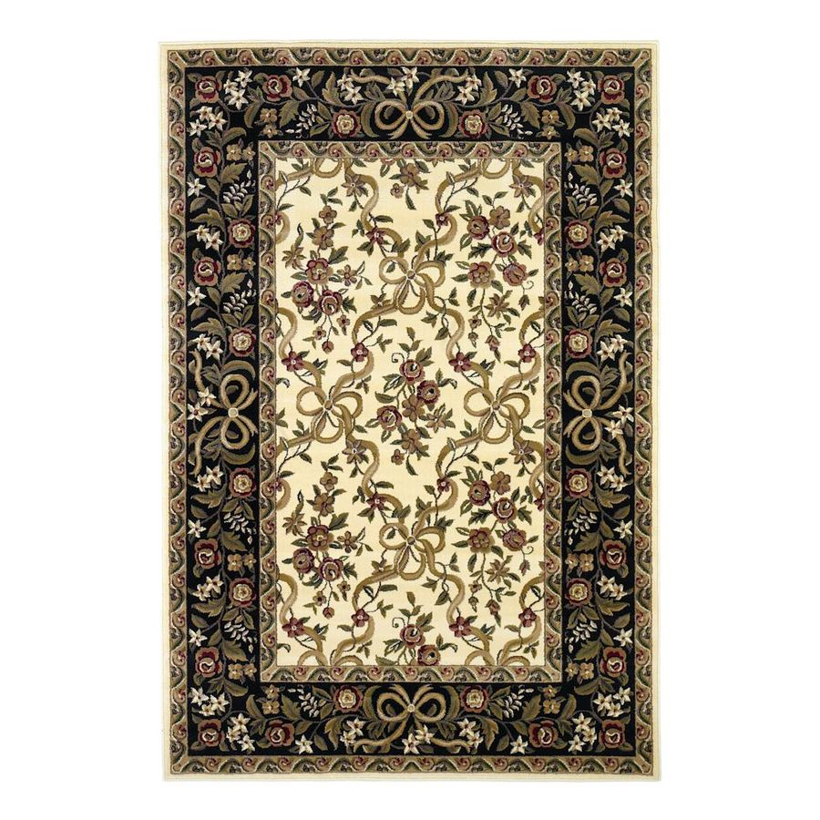KAS Rugs Always Ribbons Ivory Rectangular Indoor Woven Oriental Area Rug (Common: 10 x 13; Actual: 118-in W x 146-in L x 0-ft Dia)