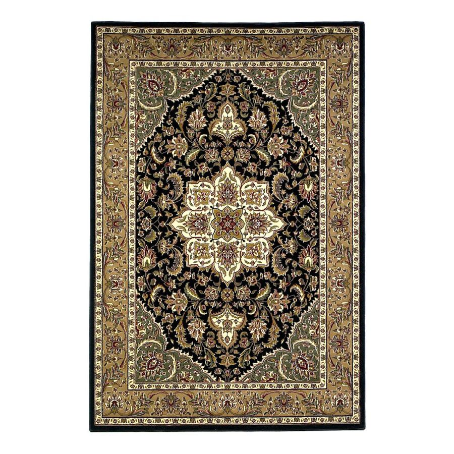 KAS Rugs Medallion Black Rectangular Indoor Woven Oriental Throw Rug (Common: 3 x 5; Actual: 39-ft W x 59-ft L)