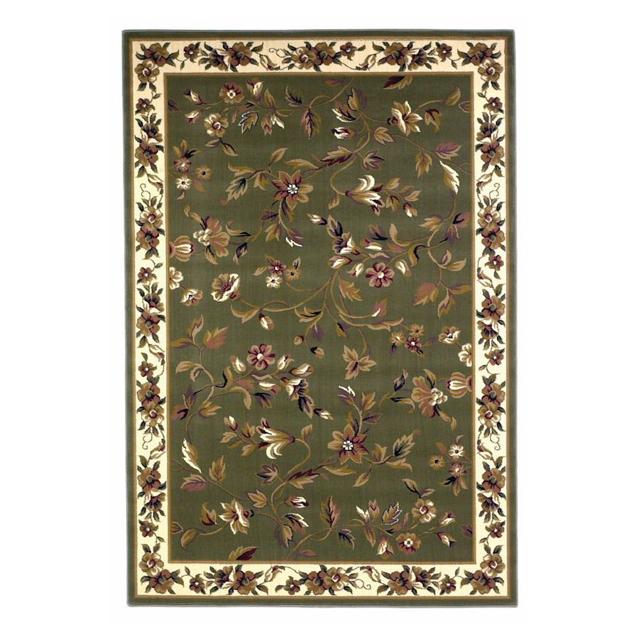 KAS Rugs Trellis Green Rectangular Indoor Woven Oriental Area Rug (Common: 5 x 8; Actual: 63-ft W x 91-ft L)