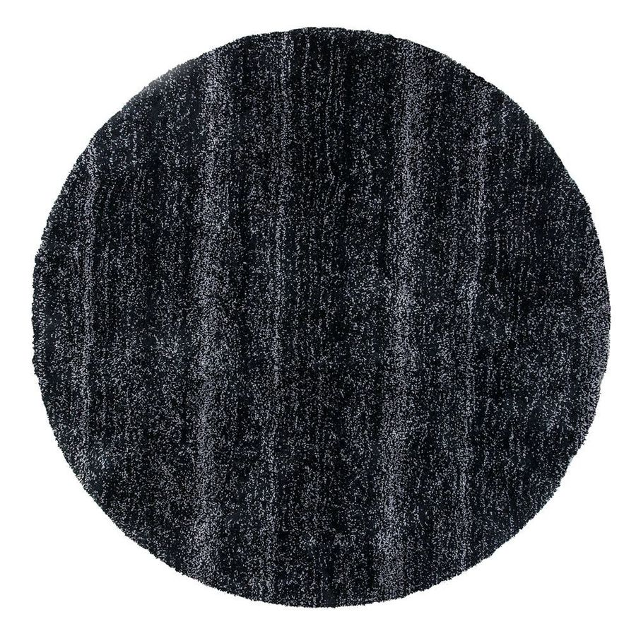 KAS Rugs Sofia Shag Black Heather Round Indoor Machine-Made Area Rug (Common: 8 x 8; Actual: 8-ft W x 8-ft L x 8-ft dia)