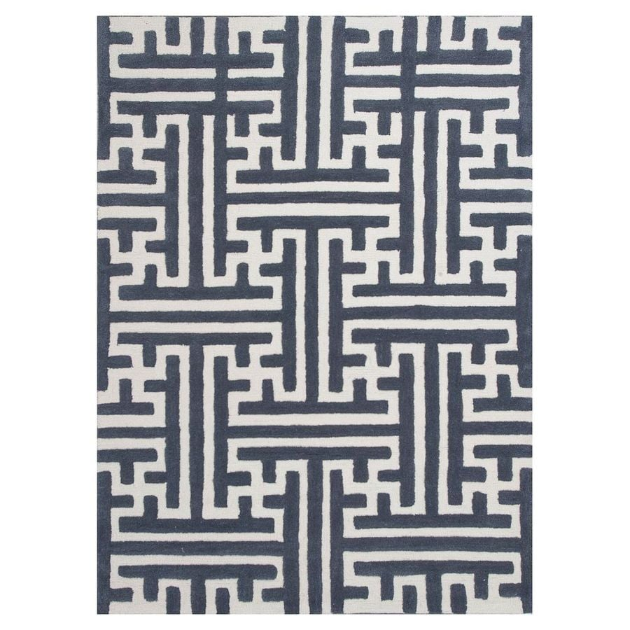 KAS Rugs Snazzy Graphics Slate/Ivory Rectangular Indoor Tufted Area Rug