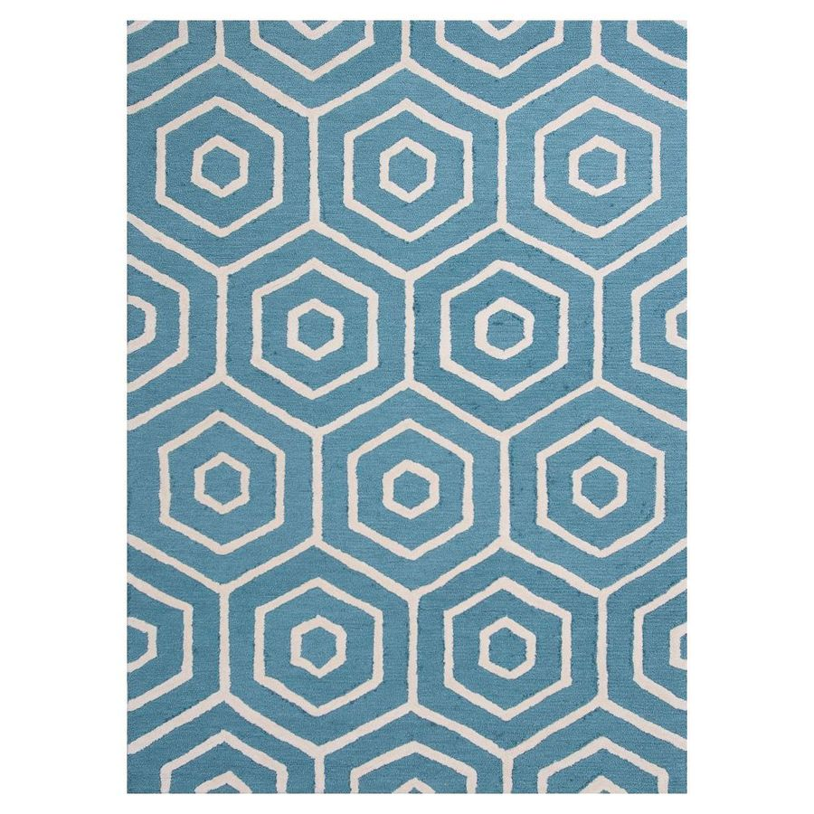 KAS Rugs Snazzy Graphics Blue/Ivory Rectangular Indoor Tufted Area Rug