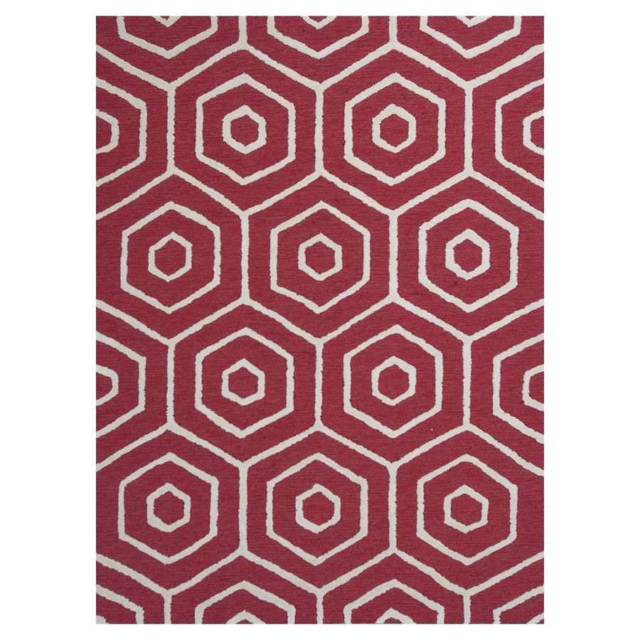 KAS Rugs Snazzy Graphics Red and Ivory Rectangular Indoor Tufted Area Rug (Common: 5 x 8; Actual: 60-in W x 90-in L)