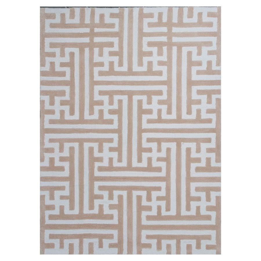 KAS Rugs Snazzy Graphics Sand Rectangular Indoor Tufted Area Rug (Common: 8 x 10; Actual: 96-in W x 120-in L)