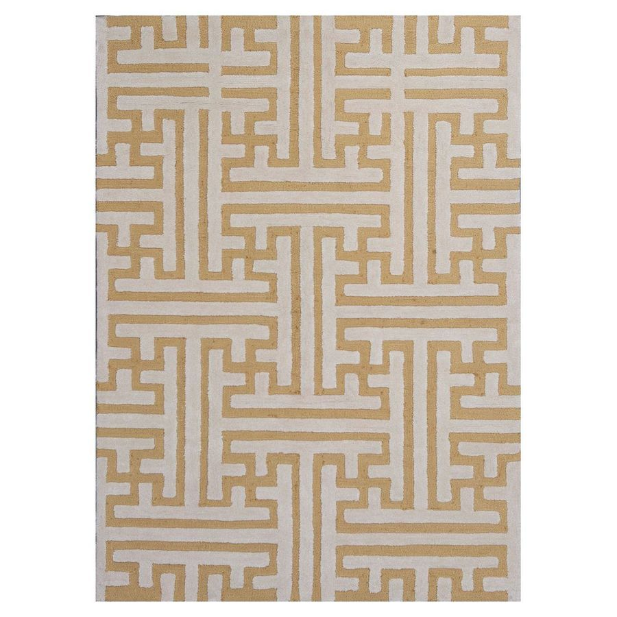 KAS Rugs Snazzy Graphics Gold/Ivory Rectangular Indoor Tufted Area Rug