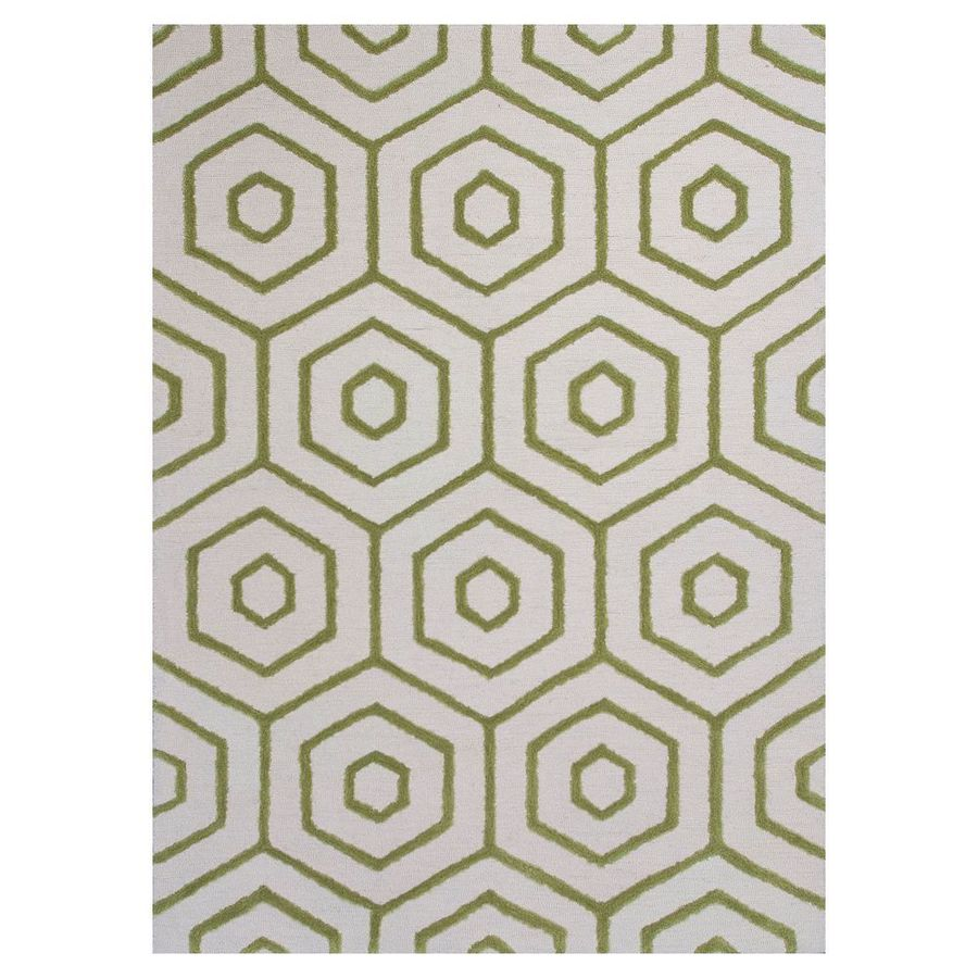KAS Rugs Snazzy Graphics Ivory/Lime Rectangular Indoor Tufted Area Rug
