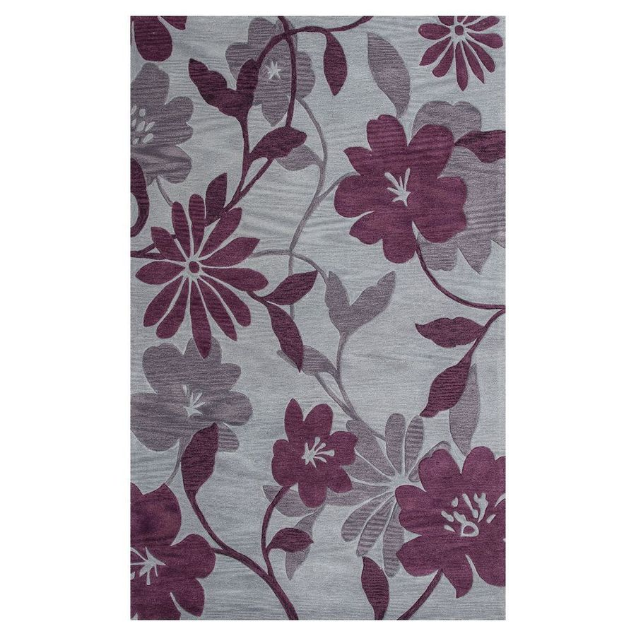 KAS Rugs Elegant Transitions Grey/Plum Rectangular Indoor Handcrafted Throw Rug (Common: 3 x 5; Actual: 3.25-ft W x 5.25-ft L)