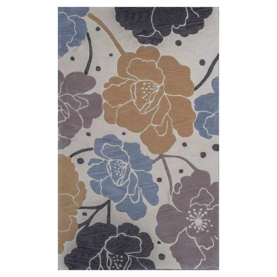 KAS Rugs Elegant Transitions Beige and Blue Rectangular Indoor Tufted Area Rug (Common: 5 x 8; Actual: 60-in W x 96-in L)